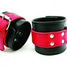 Soft Leather Wrist Restraints Red/Black
