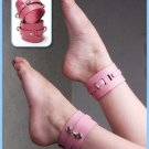 Pink Bound Leather Ankle Cuffs
