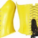 Leather Exotic Steel Boned Laced Yellow Corset - Small