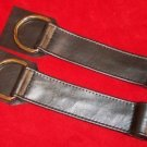 Leather Door Hangers With Ring Size Small Pair Black
