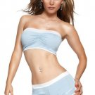 (Lg) Jersey Tube Top And Shorts Blue/White