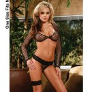 (O/S) Fence Net Top With Thong & Garter