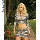(O/S) Fence Net Long Sleeve Top & Mini Skirt