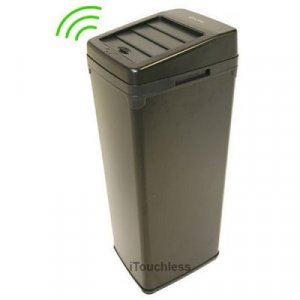 52 Liter Touchless Trashcan Square Black
