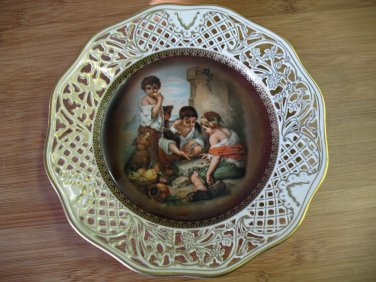 Antique Schumann German Porcelain Plate Dish Gold Border Murillo of Boys Playing