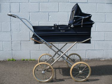 Vintage English Marmet Pram Navy Blue Baby Stroller Carriage