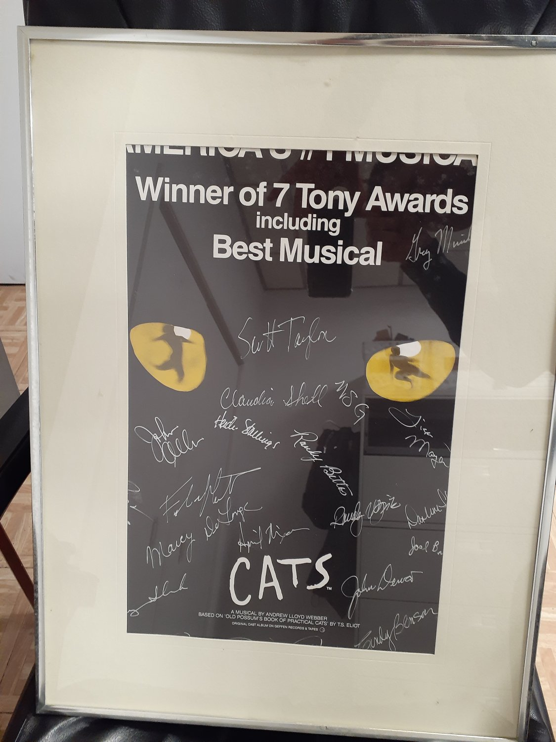 Vintage Cats Musical Broadway Cast Signed Poster 23x15in