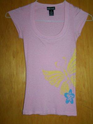 WetSeal Brand Pink T-shirt w. Butterfly & Flower deco - XS -