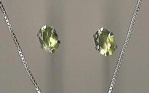 Genuine Natural Peridot and Sterling Silver Stud Earrings