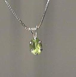 Genuine Natural Peridot and Sterling Silver Pendant with Chain