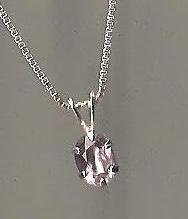 Genuine Natural Amethyst and Sterling Silver Pendant with Chain