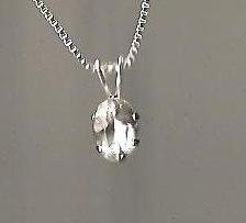 Genuine Natural White Sapphire and Sterling Silver Pendant with Chain