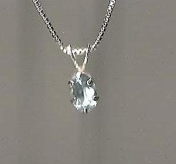 Genuine Natural Blue Topaz and Sterling Silver Pendant with Chain
