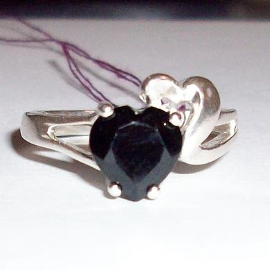 Genuine 8mm Black Spinel & Sterling Silver Heart Ring