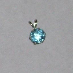 14K White Gold 7mm Light Blue Sapphire Pendant