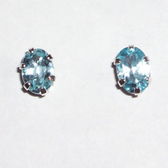 Genuine Natural Light Blue Sappire and Sterling Silver Stud Earrings