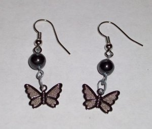 CLEARANCE: Butterfly Dangle Earrings - Hematite