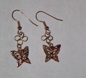 CLEARANCE: Butterfly Dangle Earrings - Gold
