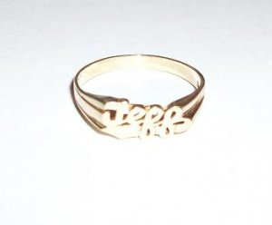 """CLEARANCE: Personalized 10K Yellow Gold """"Jeff"""" Ring"""