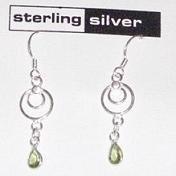 Sterling Silver & Peridot Dangle Earrings