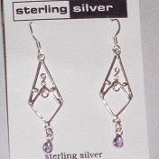 Sterling Silver & Amethyst Dangle Earrings