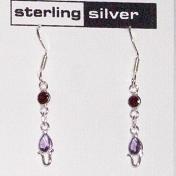 Garnet & Amethyst Sterling Silver Dangle Earrings