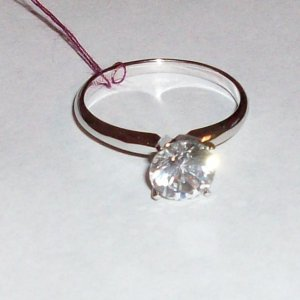 14K White Gold & Sterling Silver YAG Solitaire Ring