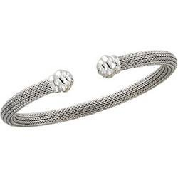 14K White Gold Hollow Bangle Bracelet - 7.5 inches
