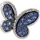 14K White Gold Black Rhodium Plated Genuine Blue Sapphire And Diamond Brooch
