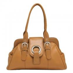 Embassy� Solid Genuine Leather Caramel Color Purse
