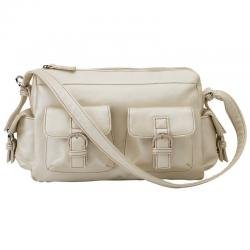 Embassy� Pearl White Faux Leather Purse with Chrome Hardware