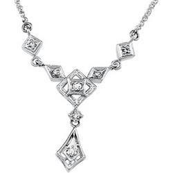 14K White Gold Diamond Chandelier Necklace