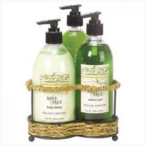 Mint & Sage Bath Set-Wire Stnd
