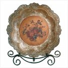 ANTQ ROSES PLATE/METAL STAND