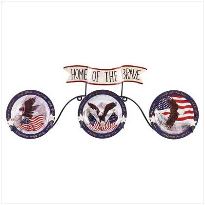 4PC PATRIOTIC EAGLE PLATE/RACK