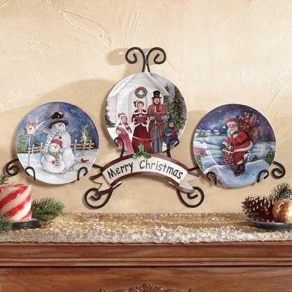 4 PC Christmas Plates/Display Rack