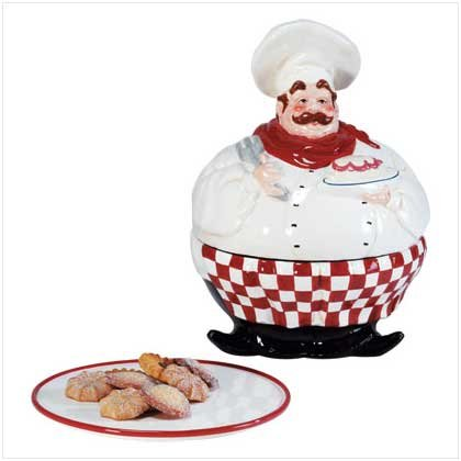 Chef Cookie Jar With Plate
