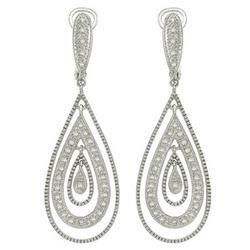 14K White Gold Round Diamond Earrings