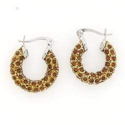 Brown Crystal Hoops