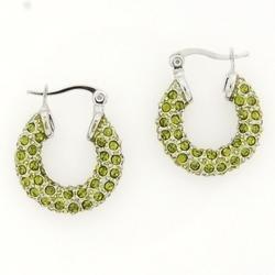 Green Crystal Hoops