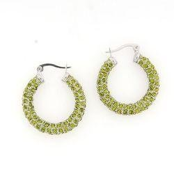 Large Green Crystal Hoops