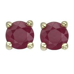 14K Yellow Gold Prong Set Round Ruby Stud Earrings