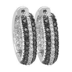 14K White Gold White & Black Diamond Inside & Out Earrings