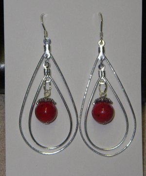 Double tear drop silver metal earrings