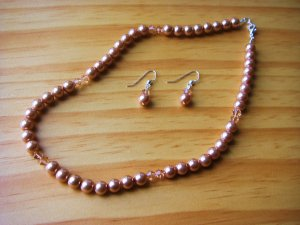 Peach Pearl Necklace & Earrings