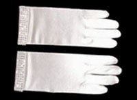White Satin Diamond Gloves  GL12795