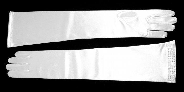 White Satin Diamond Gloves GL124195