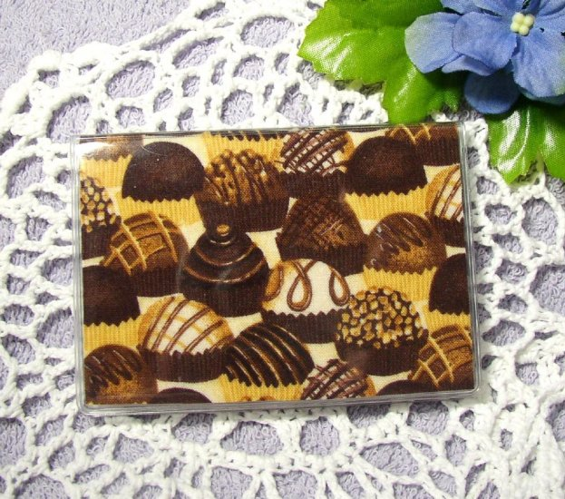 Debit Credit ID Business Card Case in Fabric and Vinyl, Chocolate Candy Print