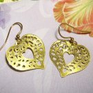 Etched Heart Shaped Dangle Pierced or Clip Earrings, Gold Plated LazerLace (tm) Charms, Dangle Style
