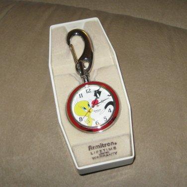 Vintage Looney Tunes Sylvester & Tweety Pocket Clip Watch, NIB, 1994 Collectible